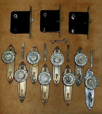 8 Antique Vintage GLASS DOOR KNOBS (4 pair), 8 BRASS KEY PLATES, 3 Mortise LOCKS