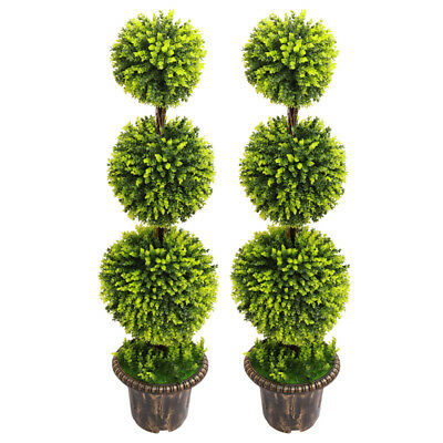 Home, Furniture & DIY Artificial Buxus Plant 1/2x Potted Topiary Tree Outdoor Home&Office Boxwood Deco Dried & Artificial Flowers