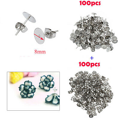 200X 8mm Earring Stud Posts Pads & Nut Backs Silvery Surgical Steel DIY Jewelry