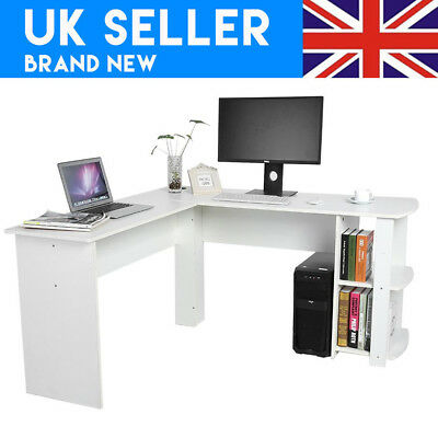 L-Shaped Office Computer Desk, Large Corner PC Table with 2 Shelves