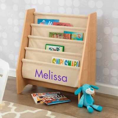 Kidkraft 14221 PZ Personalized Kids Sling Canvas Bookcase Book Shelf Natural NEW