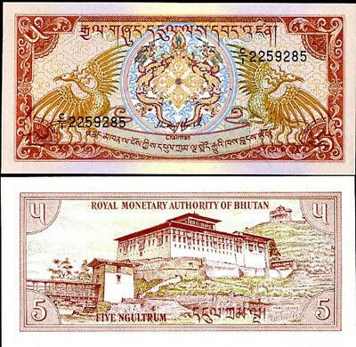 BHUTAN 5 NGULTRUM 1985 P 14a SIGN 1 C/1 UNC