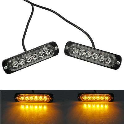 2X 12/24V Auto LED Amber Flashing Strobe Light Recovery Grill Breakdown Lamp AU