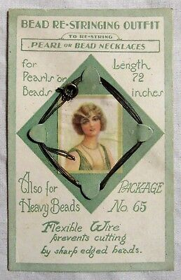Antique BEAD RESTRINGING OUTFIT General Store ADVERTISING Flapper JEWELRY WIRE