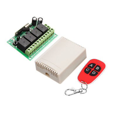 433MHz DC 12V Learning Type Four Way Wireless Remote Control Switch 4CH Channel