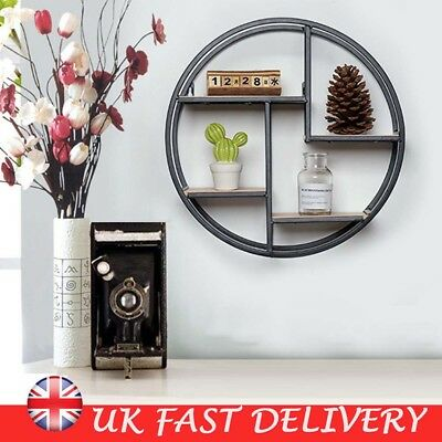Vintage Wall Unit Retro Iron Industrial Style Metal Round Shelf Rack Storage