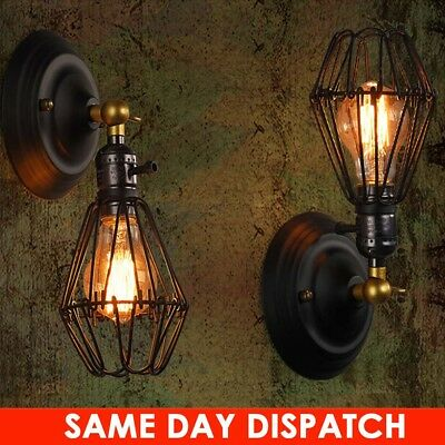 Antique Retro Industrial Wall Sconce Lamp Wall Lighting Rustic Iron Cage Uk