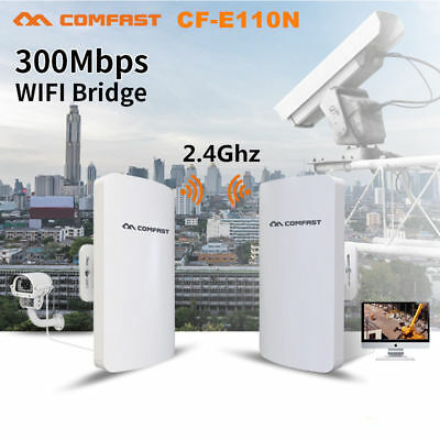 Outdoor 300Mbps Wireless 2.4G WiFi Bridge Access Point Network POE CPE AP Router