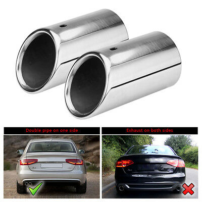 Anti-Rust Chrome Stainless Exhaust Tail Pipe Muffler Tip For Audi A4 B8 Q5 07-14