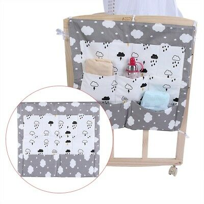 Baby Bed Hanging Storage Bag Diaper Toy Organizer Cotton Pocket for Infant Crib