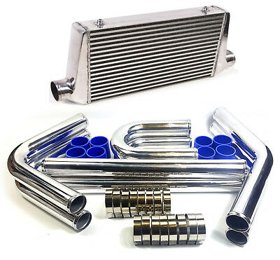 ALLOY FRONT MOUNT INTERCOOLER With Aluminium Pipe Kit FMIC 445x300x76mm Core