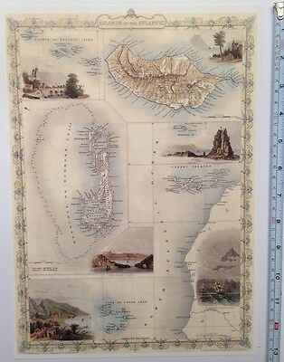"Antique vintage colour map 1800s: Islands In The Atlantic Tallis 13 X 9"" Reprint"
