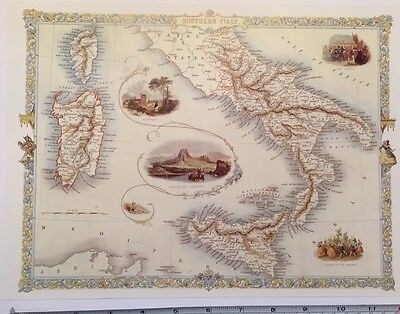 "Antique vintage colour map 1800s: Southern Italy by John Tallis 12 X 9"" Reprint"