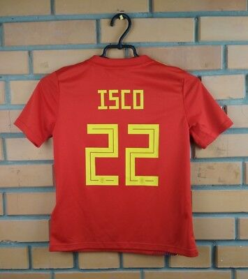 fe2e9804b 10/10 Isco Spain kids soccer jersey 2018 9-10 years home shirt BR2713