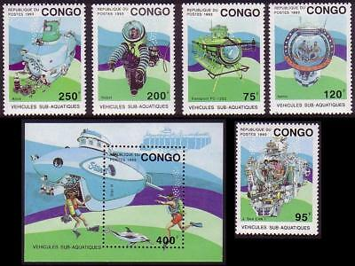 Congo Underwater vehicles 5v+MS MNH MI#1371-1375+Block 112