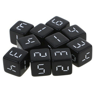 10pcs/ Set 16mm D6 Dice Six Sided Die Black With White Numbers Square Edged New