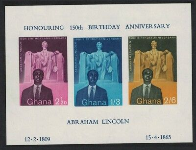 Ghana 150th Birth Anniversary of Abraham Lincoln MS MNH SG#MS206a