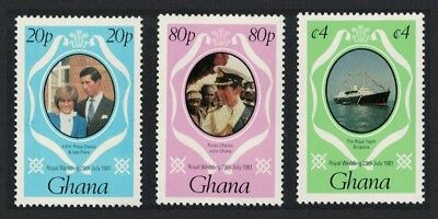 Ghana Charles and Diana Royal Wedding 3v+MS (1st series) MNH SG#948-950