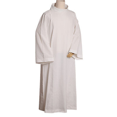 Catholic Church Alb Robe Liturgical Monastic Vestments Gown White Roll-collar M