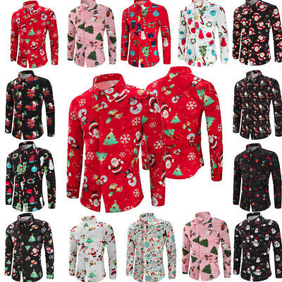 Men's Luxury Snowflakes Santa Candy Printed Christmas Party T Shirt Tops Blouse