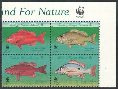 Turks and Caicos WWF Grouper Endangered Species 4v Top Right Block of 4 WWF Logo