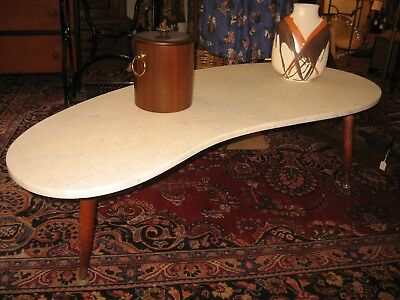 Vintage Mid Century Modern Marble Kidney Shaped Coffee Table Biomorphic 50s-60s