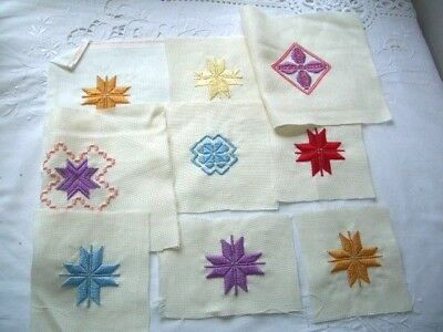 Needlepoint -  9 x Finished squares, ideal for card making               ref 1A