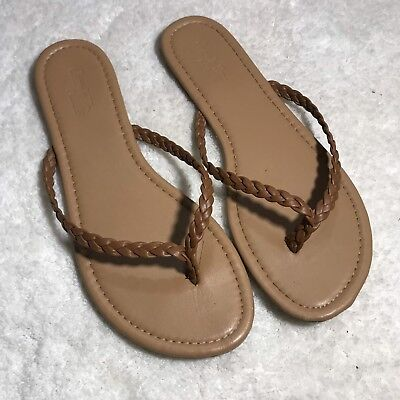 2bd990a6dfbd Womens Charlotte Russe Tan Thong Sandals Flip Flops Size 8 Braided Straps