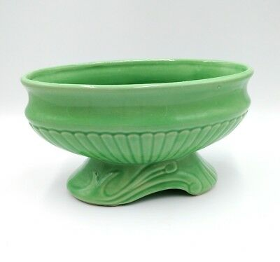 Art Deco Oval Planter Green Footed Bowl Home Decor Ribbed Textured Nostalgia