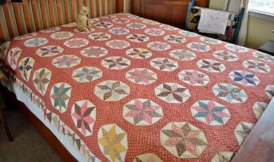 Antique 19th c Hand Stitched Calico Eight Point Star Quilt *