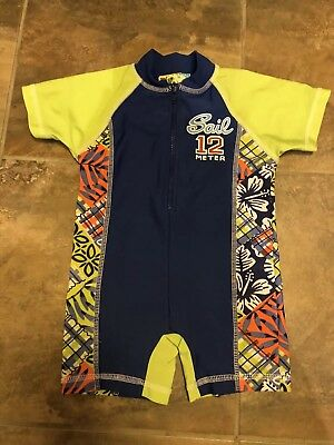 Make A Splash Boys 2t one piece zippered swim suit blue lime green