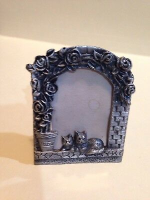 Minature Pewter Picture Frame With Cats