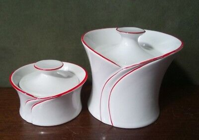 Matching pair of vintage red & white lidded pots Art Deco style hand painted