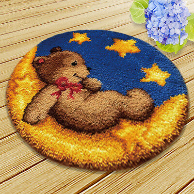 DIY Toy Bear Latch Hook Rug Making Kits for Beginners Hand Embroidery Carpet