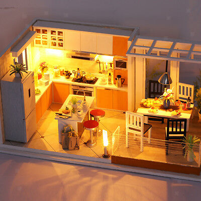 DIY Handcraft LED Wooden Dollhouse Miniature Furniture Kit Toy Doll House