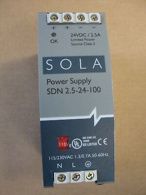 Used Sola Power Supply, SDN 2.5-24-100, 115/230VAC, 1.3/0.7A,50-60HZ