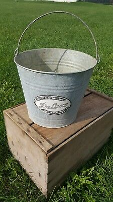 Vintage Galvanized Fireplace Feed Coal/Ash Flower/Water Bucket Pail Can garden
