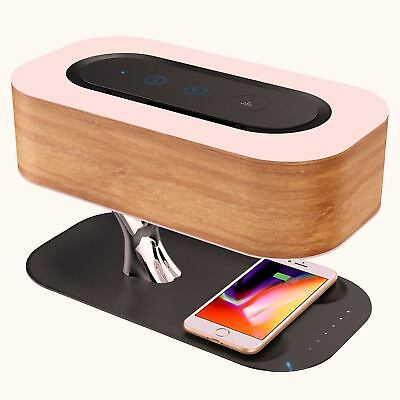 Home Bedside Lamp Bluetooth Speaker Wireless Charger Sleep Mode Stepless Dimming