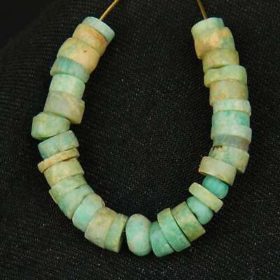 KYRA MINT - ANCIENT 33 Amazonite BEADS - 90 mm total length - Saharian NEOLITHIC