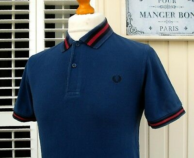 """Fred Perry Carbon Bold Tipped Pique Polo - S/M - 38"""" - Ska Mod Scooter Casuals"""