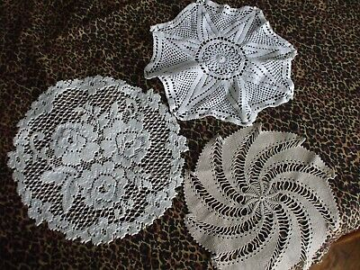 3 Misc. Vintage Factory Made   Doilies Lot- W