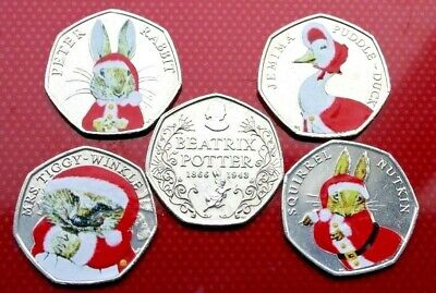2016 Beatrix Potter🌲 christmas 🎅colour decal 50p coin set Jemima Puddleduck 🦆