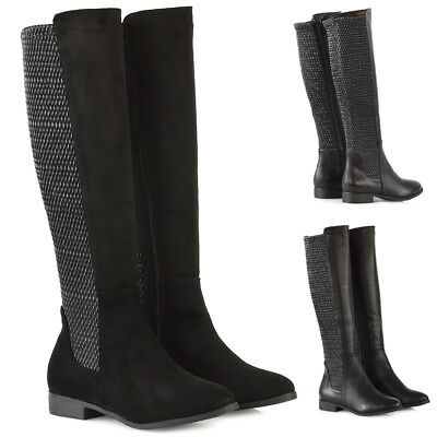 Womens Flat Stretch Knee High Boots Ladies Riding Calf Leg Zip Winter Shoes Size