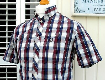 """Fred Perry M7337 Bold Tartan Check Shirt - S/M - 38"""" - Ska Mod Scooter Casuals"""