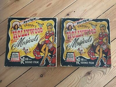 2 x Vintage 50's 60's Boxes 16mm Hollywood Musicals Film Reel Boxes with Film