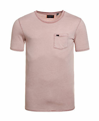 New Mens Superdry Factory Second Destroy Longline T-Shirt Washed Pink