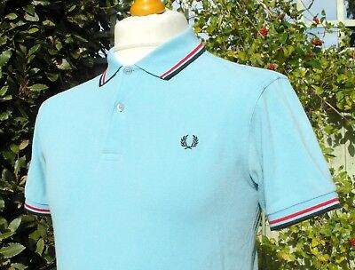 """M1200 Fred Perry Sky Blue Twin Tipped Polo - S/M - 38"""" - Ska Mod Scooter Casuals"""