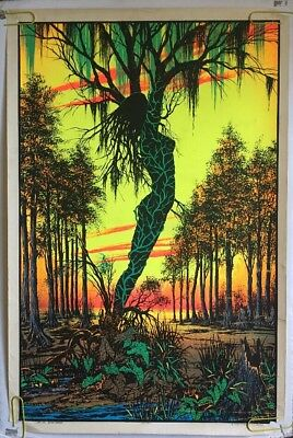 Bayou Swamp Mirage Vintage Back Light Poster Psychedelic Lady Tree 1970's Velvet