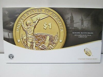 2015 Mohawk Ironworkers American $1 Coin and Currency Set US Mint