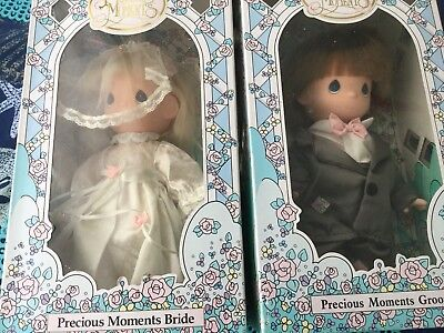 """1992 Precious Moments Bride & Groom Dolls NEW in BOXES NOS 10"""" Tall April Andrew"""